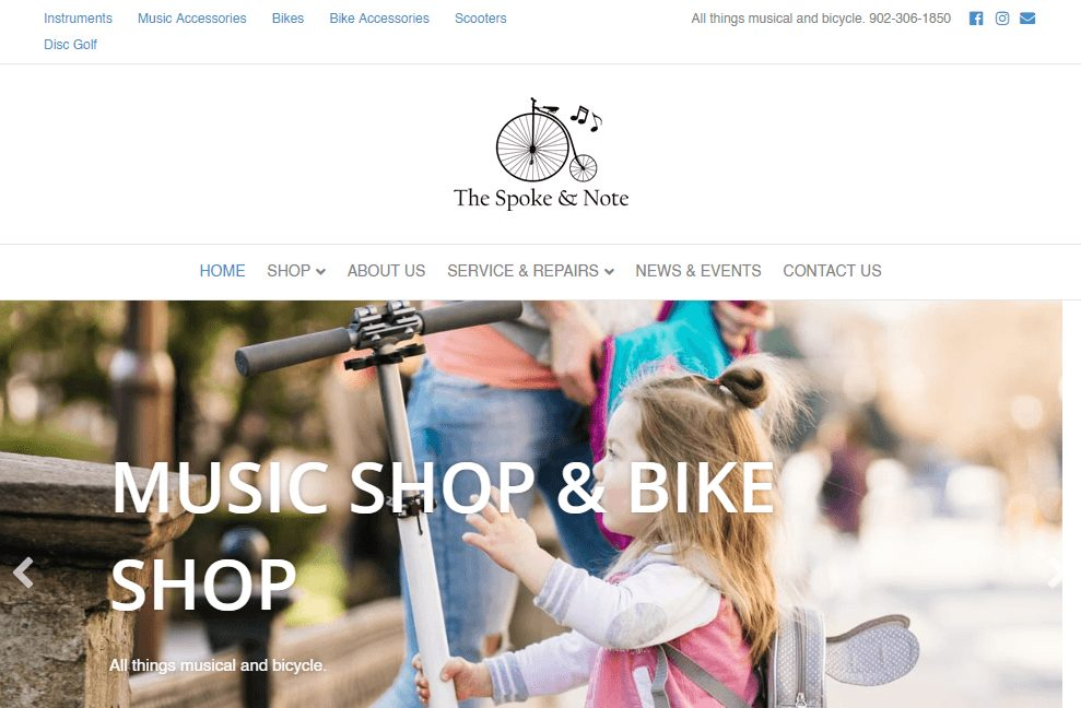 homepage screenshot of the website overhaul for The Spoke & Note