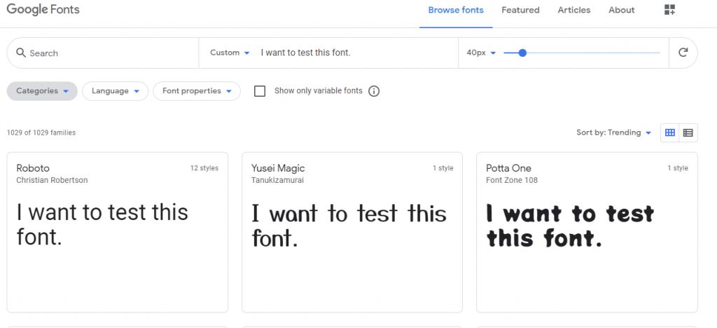 website font testing